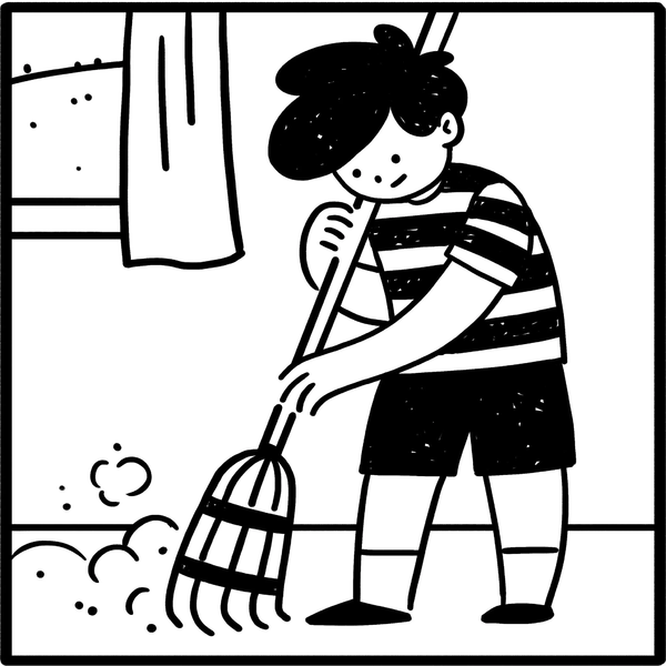 Cartoon shows a boy sweeping.